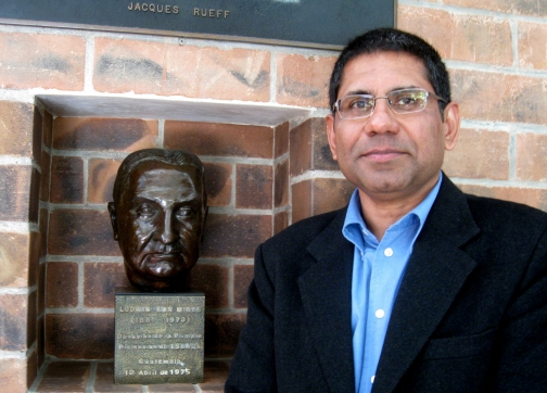 With Ludwig Von Mises' bust at Universidad Francisco Marroquín