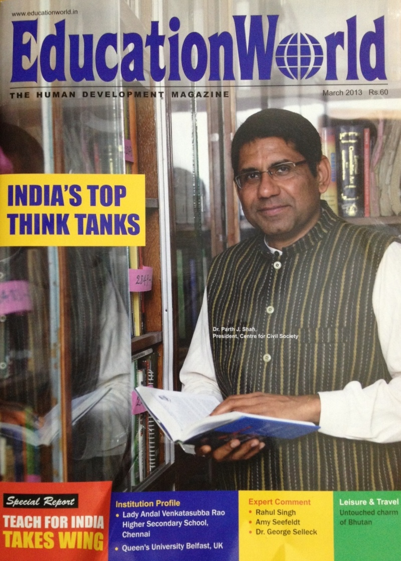 Parth on cover page of Education World